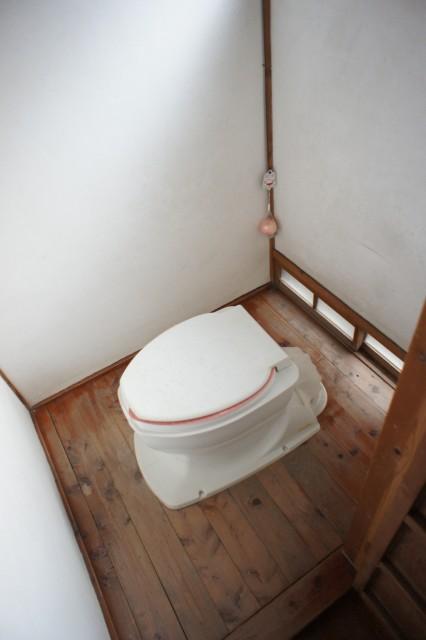 トイレ。  現状は汲取式です。  下水は敷地内引き込み済みです。